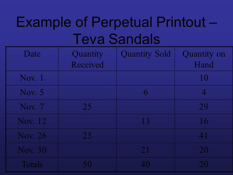 Example of Perpetual Printout – Teva Sandals DateQuantity Received Quantity SoldQuantity on Hand Nov. 110 Nov. 564 Nov. 72529 Nov. 121316 Nov. 262541