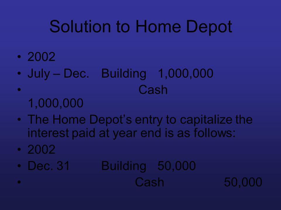 Solution to Home Depot 2002 July – Dec.Building1,000,000 Cash 1,000,000 The Home Depots entry to capitalize the interest paid at year end is as follow