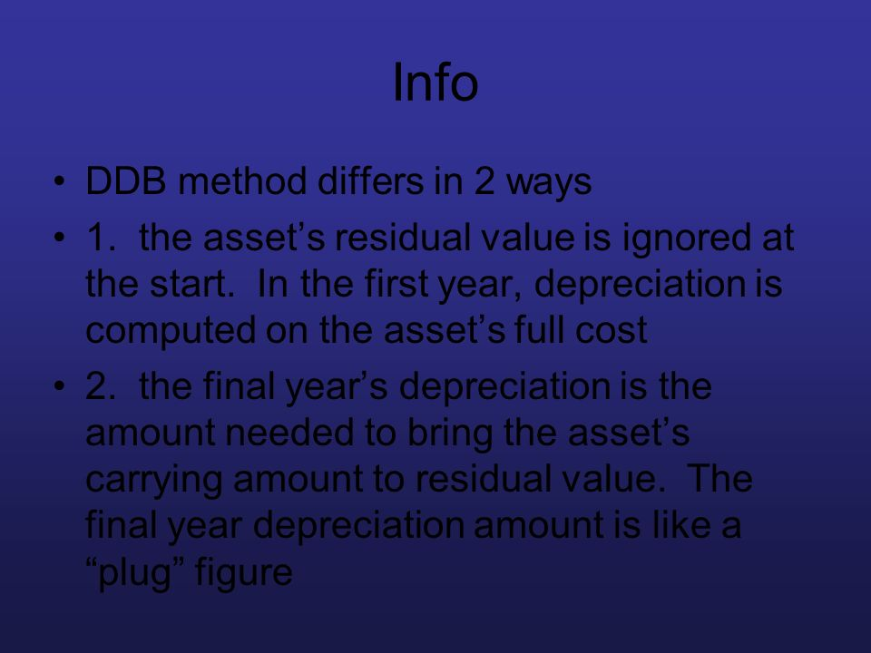 Info DDB method differs in 2 ways 1. the assets residual value is ignored at the start. In the first year, depreciation is computed on the assets full