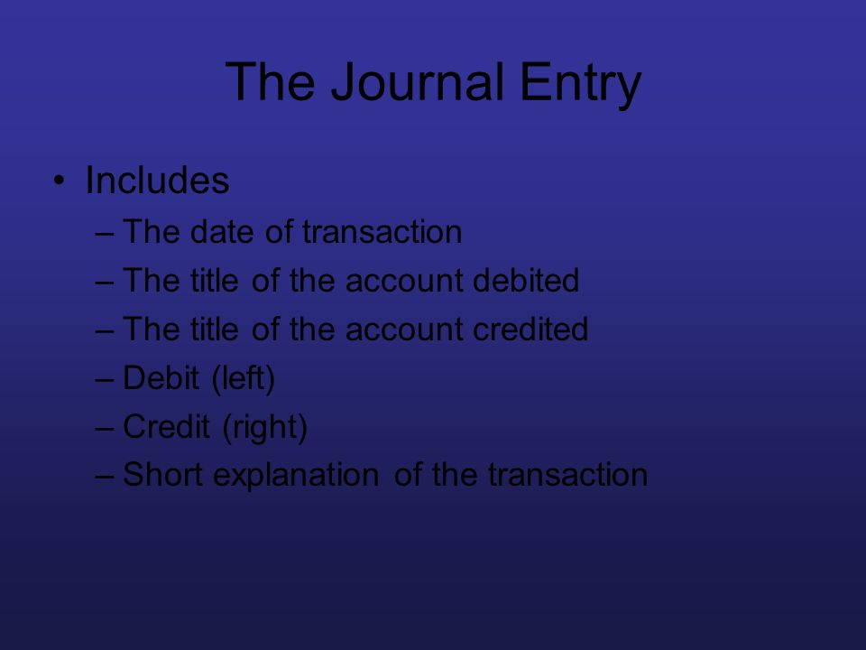The Journal Entry Includes –The date of transaction –The title of the account debited –The title of the account credited –Debit (left) –Credit (right)