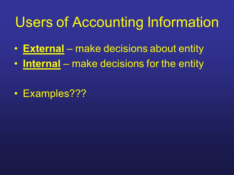 Users of Accounting Information External – make decisions about entity Internal – make decisions for the entity Examples???