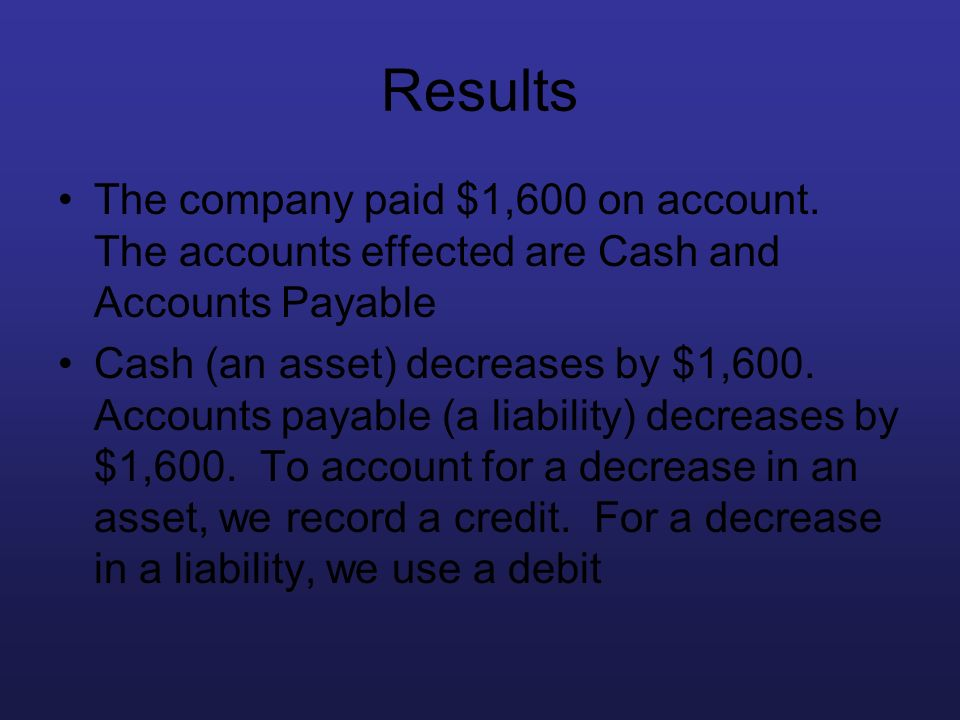 Results The company paid $1,600 on account. The accounts effected are Cash and Accounts Payable Cash (an asset) decreases by $1,600. Accounts payable