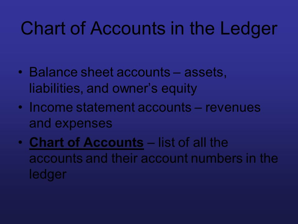 Chart of Accounts in the Ledger Balance sheet accounts – assets, liabilities, and owners equity Income statement accounts – revenues and expenses Char