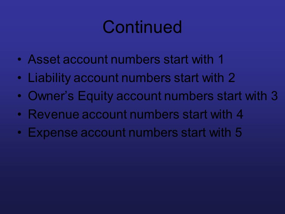 Continued Asset account numbers start with 1 Liability account numbers start with 2 Owners Equity account numbers start with 3 Revenue account numbers