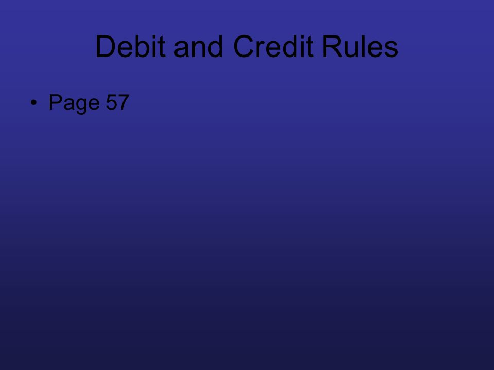 Debit and Credit Rules Page 57