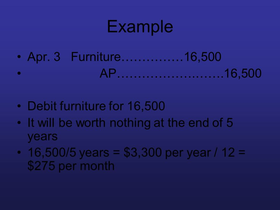 Example Apr. 3 Furniture……………16,500 AP……………….…….16,500 Debit furniture for 16,500 It will be worth nothing at the end of 5 years 16,500/5 years = $3,3