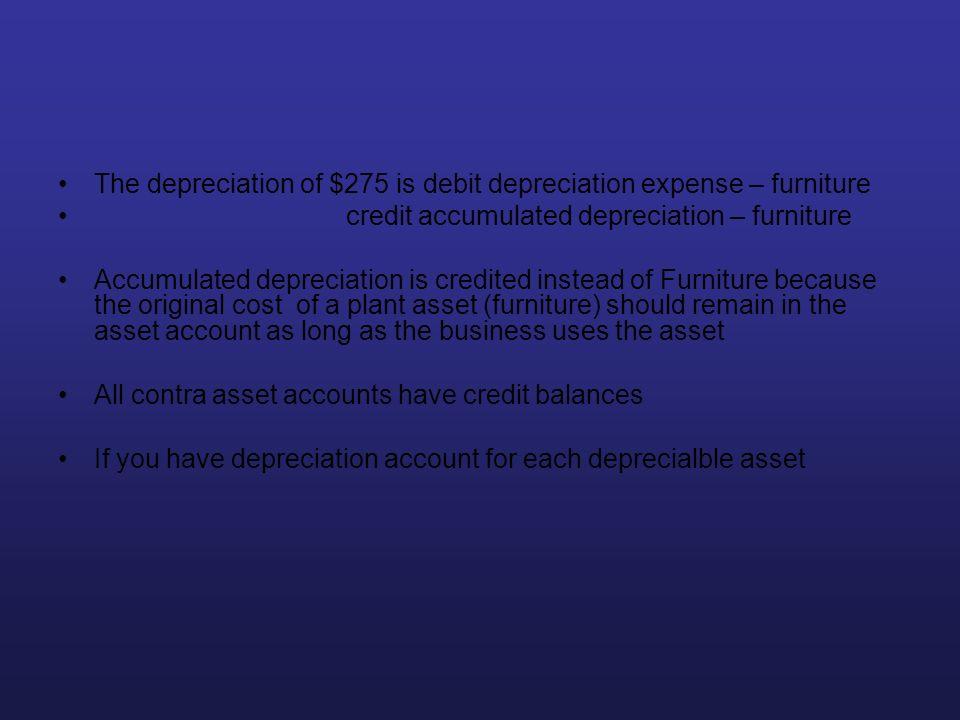 The depreciation of $275 is debit depreciation expense – furniture credit accumulated depreciation – furniture Accumulated depreciation is credited in