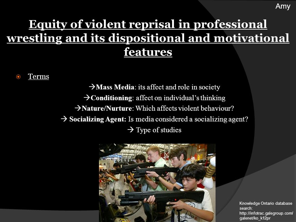 Terms Mass Media: its affect and role in society Conditioning: affect on individuals thinking Nature/Nurture: Which affects violent behaviour.