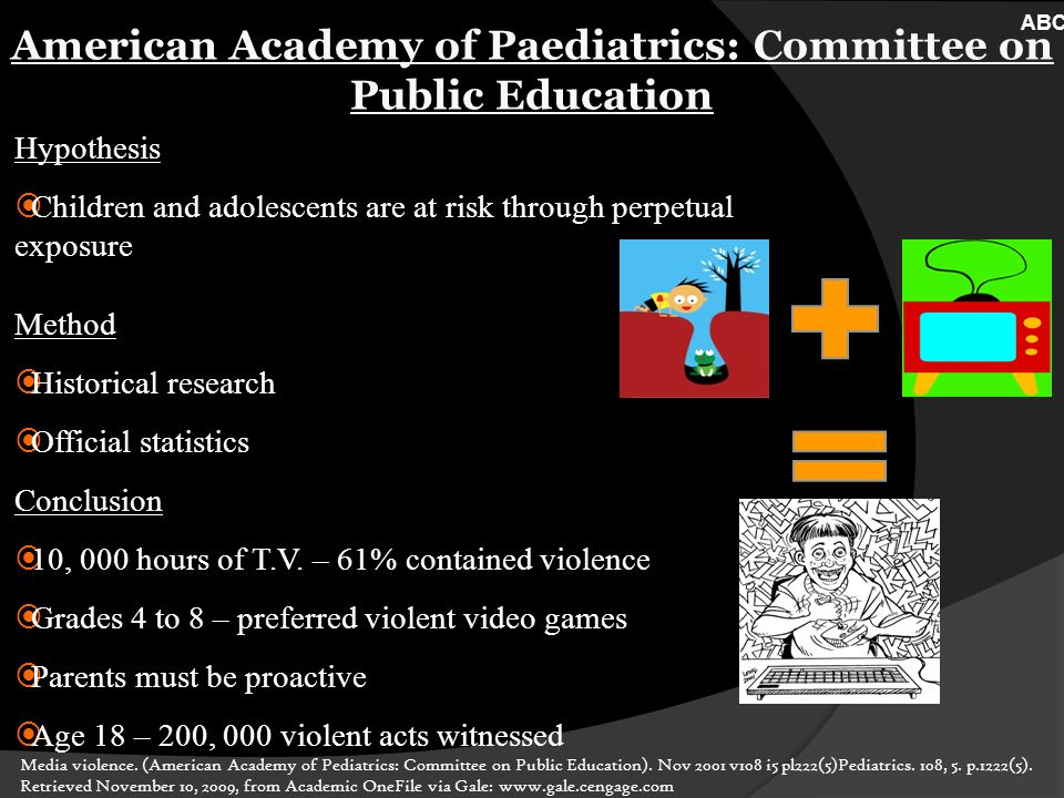American Academy of Paediatrics: Committee on Public Education Hypothesis Children and adolescents are at risk through perpetual exposure Method Historical research Official statistics Conclusion 10, 000 hours of T.V.
