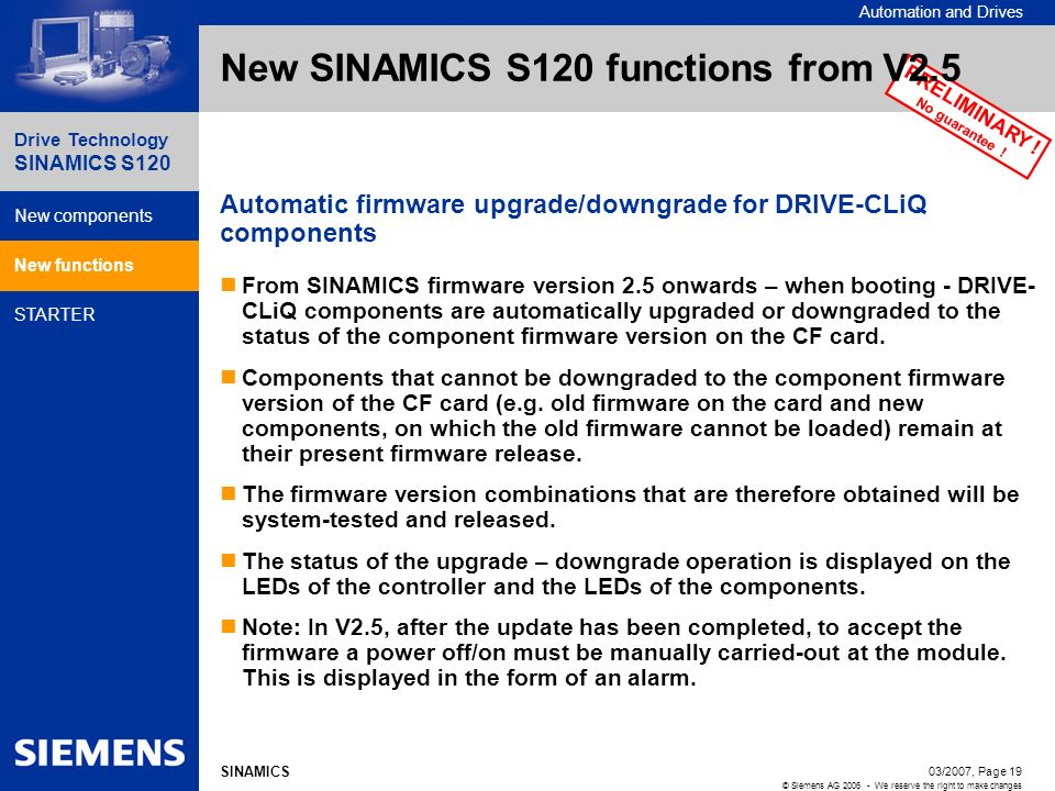 Automation and Drives Drive Technology SINAMICS S120 New components New functions STARTER 03/2007, Page 19 © Siemens AG 2006 - We reserve the right to