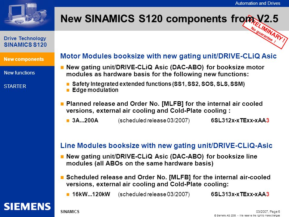 Automation and Drives Drive Technology SINAMICS S120 New components New functions STARTER 03/2007, Page 5 © Siemens AG 2006 - We reserve the right to