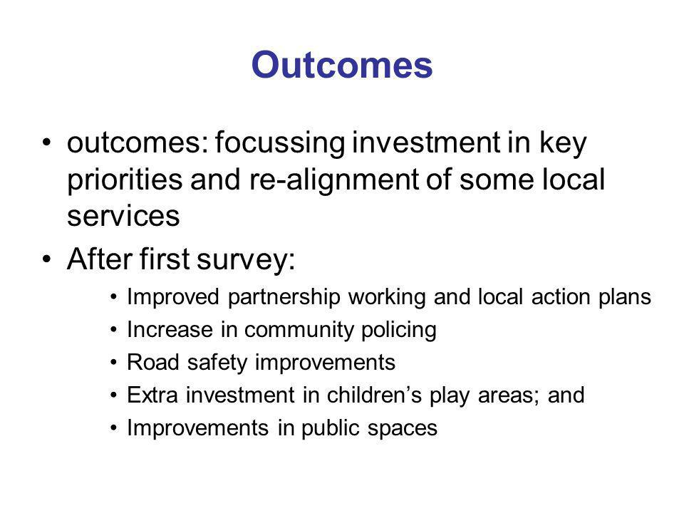 Outcomes outcomes: focussing investment in key priorities and re-alignment of some local services After first survey: Improved partnership working and local action plans Increase in community policing Road safety improvements Extra investment in childrens play areas; and Improvements in public spaces