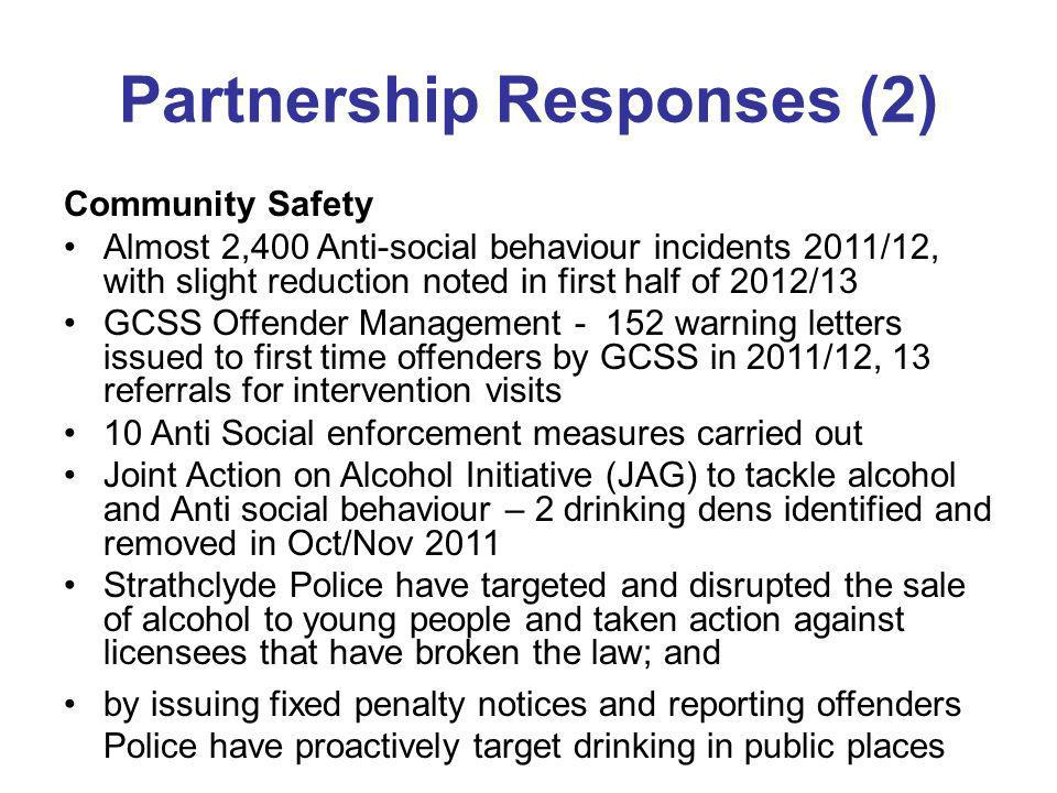 Partnership Responses (2) Community Safety Almost 2,400 Anti-social behaviour incidents 2011/12, with slight reduction noted in first half of 2012/13 GCSS Offender Management - 152 warning letters issued to first time offenders by GCSS in 2011/12, 13 referrals for intervention visits 10 Anti Social enforcement measures carried out Joint Action on Alcohol Initiative (JAG) to tackle alcohol and Anti social behaviour – 2 drinking dens identified and removed in Oct/Nov 2011 Strathclyde Police have targeted and disrupted the sale of alcohol to young people and taken action against licensees that have broken the law; and by issuing fixed penalty notices and reporting offenders Police have proactively target drinking in public places
