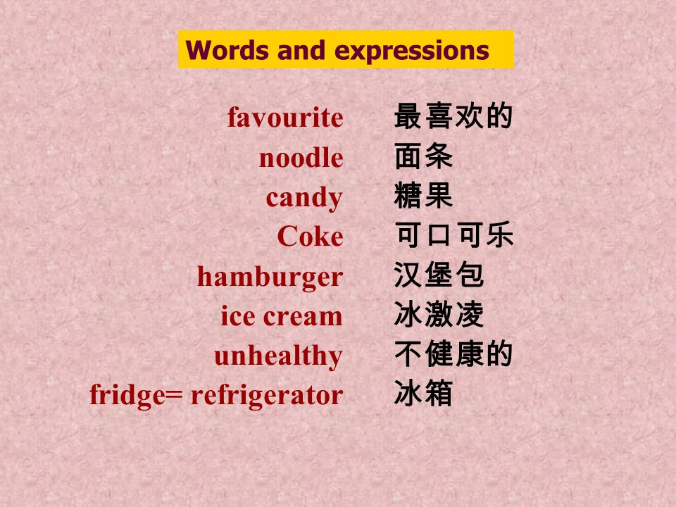 favourite noodle candy Coke hamburger ice cream unhealthy fridge= refrigerator Words and expressions