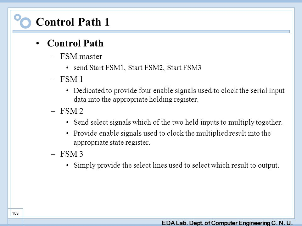 EDA Lab. Dept. of Computer Engineering C. N. U. 103 Control Path 1 Control Path –FSM master send Start FSM1, Start FSM2, Start FSM3 –FSM 1 Dedicated t