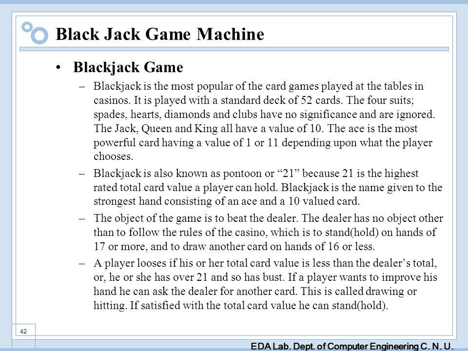 EDA Lab. Dept. of Computer Engineering C. N. U. 42 Black Jack Game Machine Blackjack Game –Blackjack is the most popular of the card games played at t