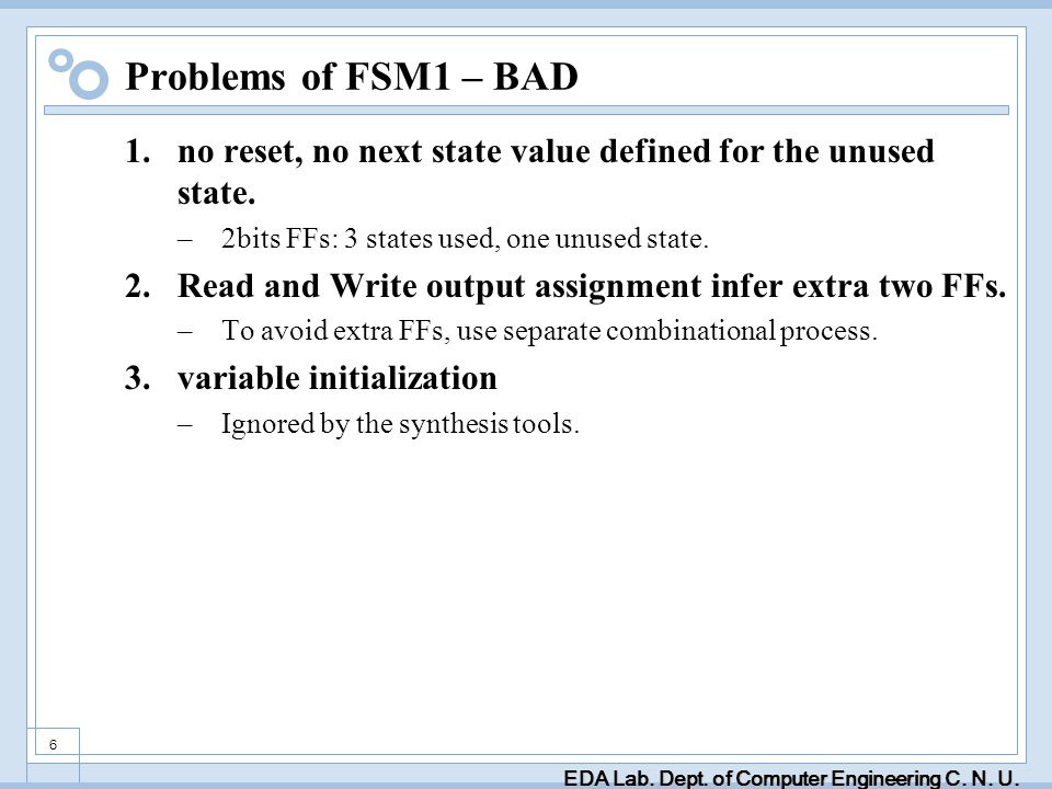 EDA Lab. Dept. of Computer Engineering C. N. U. 6 Problems of FSM1 – BAD 1.no reset, no next state value defined for the unused state. –2bits FFs: 3 s