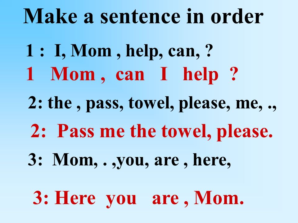 Make a sentence in order 1 : I, Mom, help, can, .
