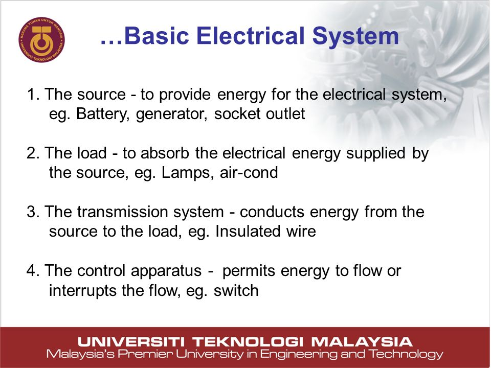 10 1. The source - to provide energy for the electrical system, eg. Battery, generator, socket outlet 2. The load - to absorb the electrical energy su