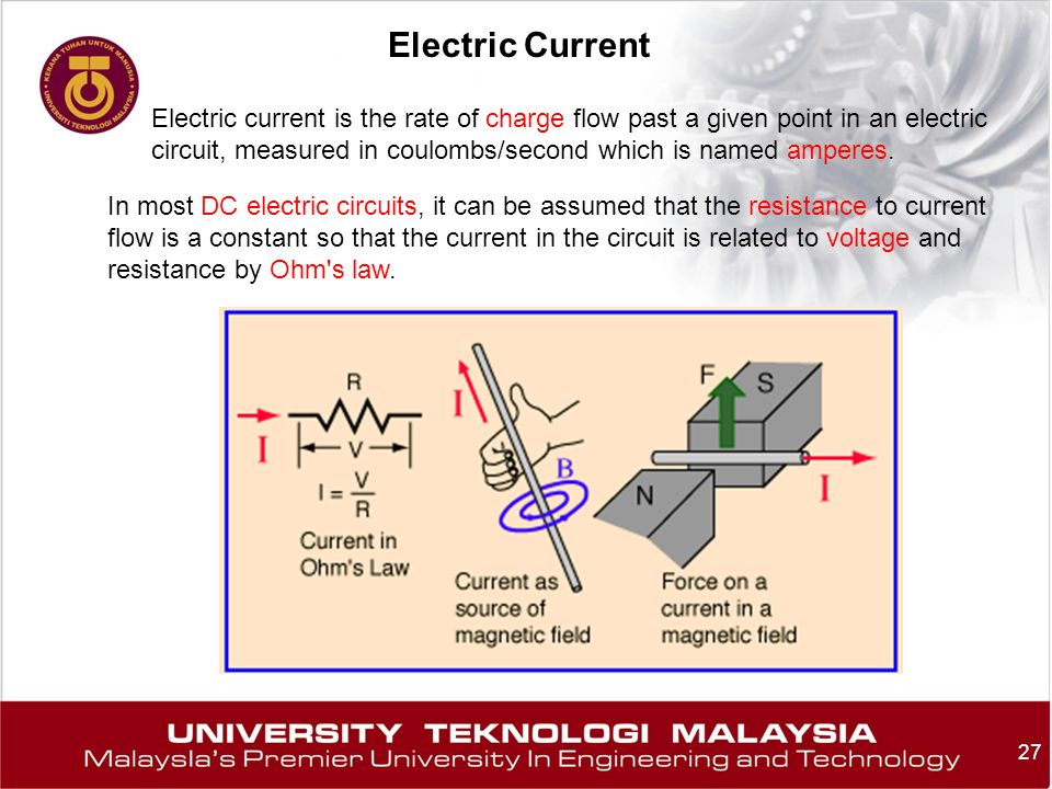 27 Electric Current Electric current is the rate of charge flow past a given point in an electric circuit, measured in coulombs/second which is named