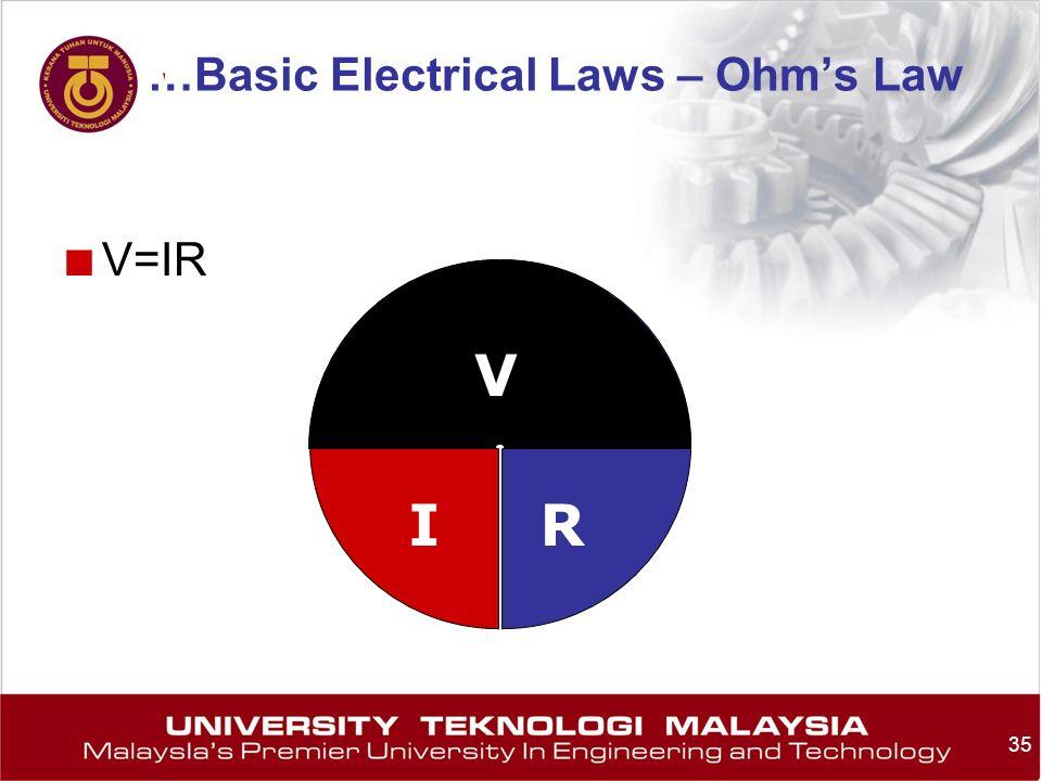 35 V=IR V IR …Basic Electrical Laws – Ohms Law