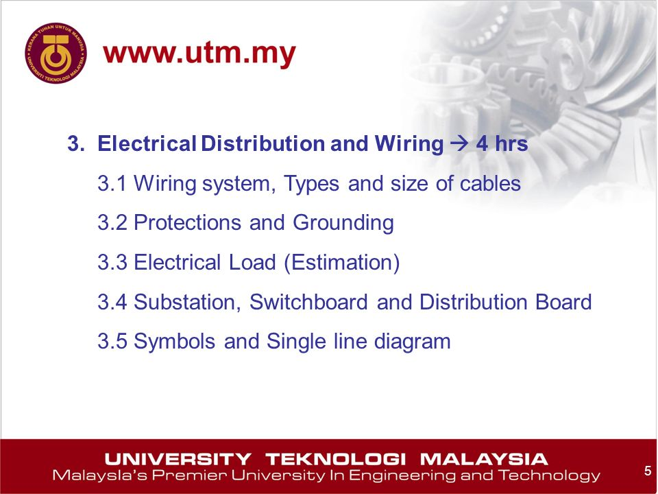 5 3. Electrical Distribution and Wiring 4 hrs 3.1 Wiring system, Types and size of cables 3.2 Protections and Grounding 3.3 Electrical Load (Estimatio