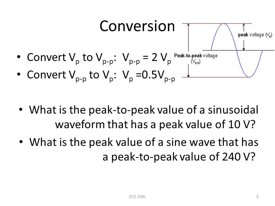 5 Conversion Convert V p to V p-p : V p-p = 2 V p Convert V p-p to V p : V p =0.5V p-p What is the peak-to-peak value of a sinusoidal waveform that ha