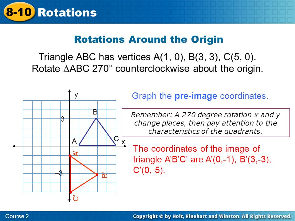 Course 2 8-10 Rotations QUESTION How are the coordinates determined from a rotation around a vertex?