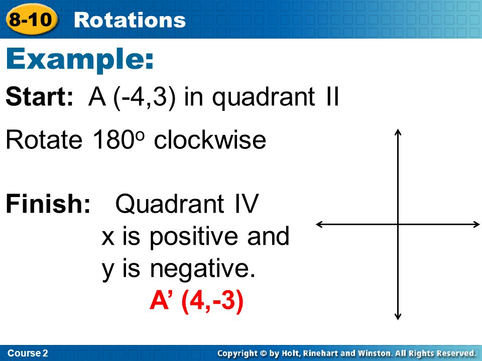 Course 2 8-10 Rotations To Rotate 90 o or 270 o around origin: 1.