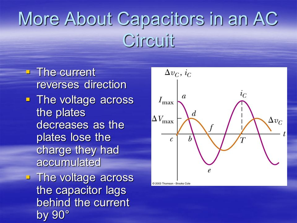 More About Capacitors in an AC Circuit The current reverses direction The current reverses direction The voltage across the plates decreases as the pl