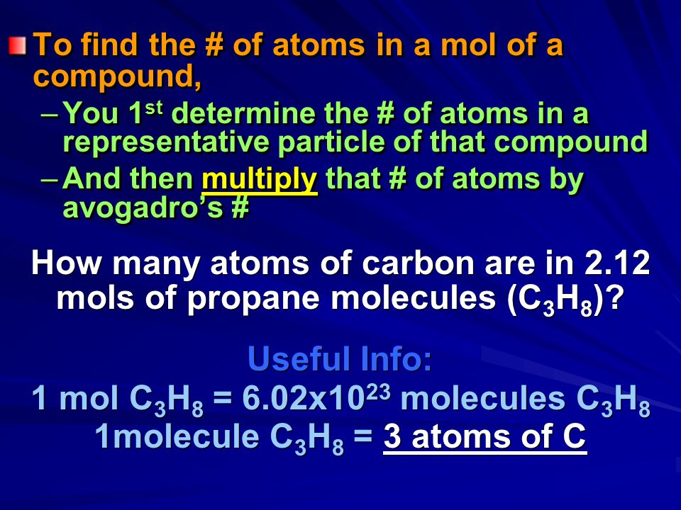 What if I asked you how many atoms are in a mole of a compound? –you must know how many atoms are in a representative particle or cluster of the compo
