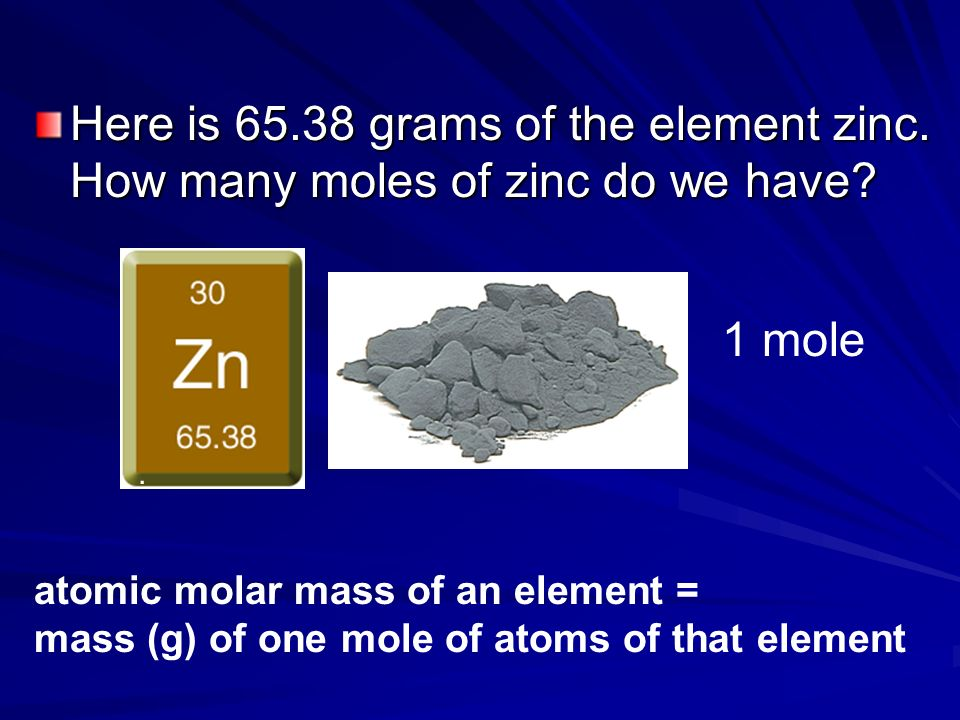Back to carbon…. Here is one mole of carbon which weighs 12.0 g The atomic molar mass of carbon on the periodic table is…. Which means there are 12.01