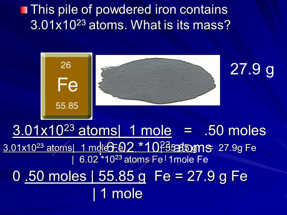 0.50 moles x (63.55 g/mole) = 31.8g Here is 0.50 moles of copper. How many grams of copper do we have? 31.8g 0.50 moles | 63.55 g= 31.8g | 1 mole)