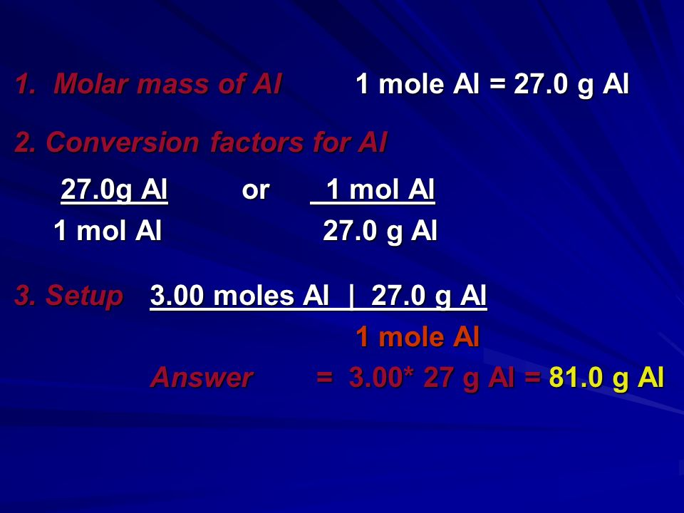 Aluminum is often used for the structure of light-weight bicycle frames. How many grams of Al are in 3.00 moles of Al? Aluminum is often used for the