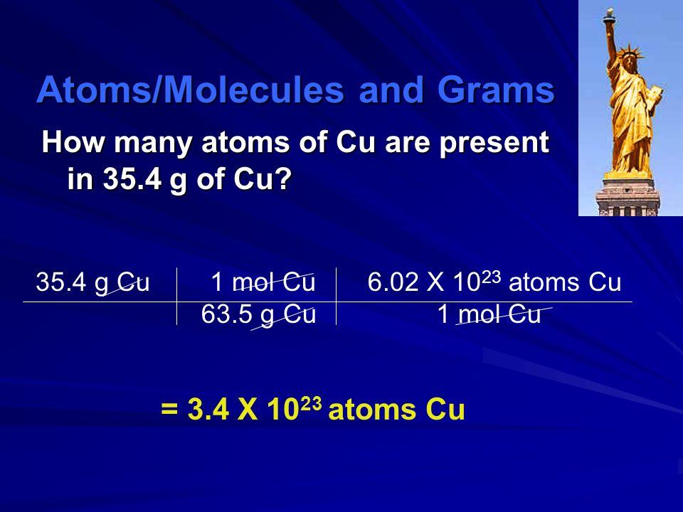 molar mass Avogadros number Grams Moles particles molar mass Avogadros number Grams Moles particles Everything must go through Moles!!! Calculations