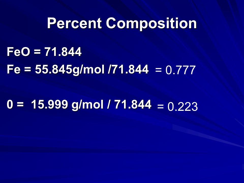 Percent Composition FeO = Fe = 55.845g/mol O = 15.999 g/mol FeO= (55.845 +15.999)= 71.844