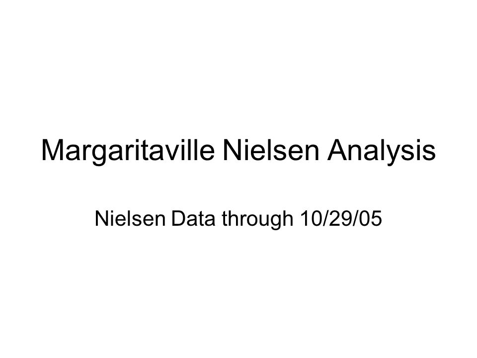 Margaritaville Nielsen Analysis Nielsen Data through 10/29/05