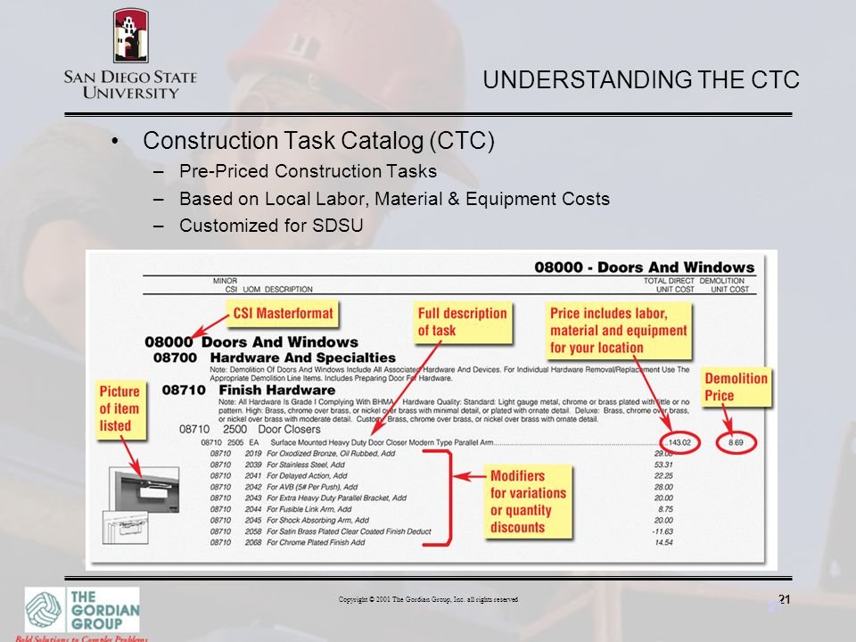 21 Copyright © 2001 The Gordian Group, Inc. all rights reserved 21 UNDERSTANDING THE CTC Construction Task Catalog (CTC) –Pre-Priced Construction Task