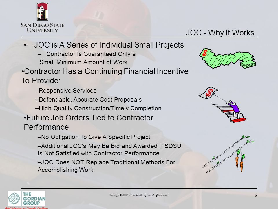 6 Copyright © 2001 The Gordian Group, Inc. all rights reserved JOC - Why It Works JOC is A Series of Individual Small Projects –Contractor Is Guarante