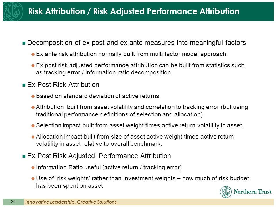 21 Innovative Leadership, Creative Solutions Risk Attribution / Risk Adjusted Performance Attribution Decomposition of ex post and ex ante measures in