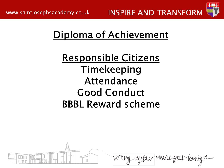Diploma of Achievement Responsible Citizens Timekeeping Attendance Good Conduct BBBL Reward scheme