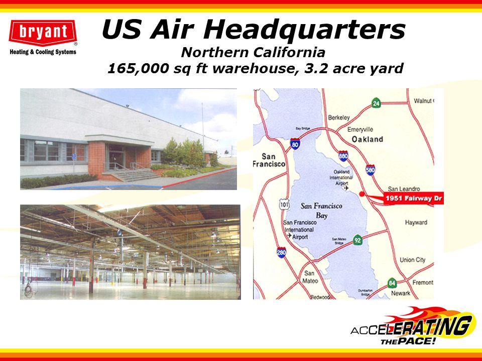 US Air Headquarters Northern California 165,000 sq ft warehouse, 3.2 acre yard