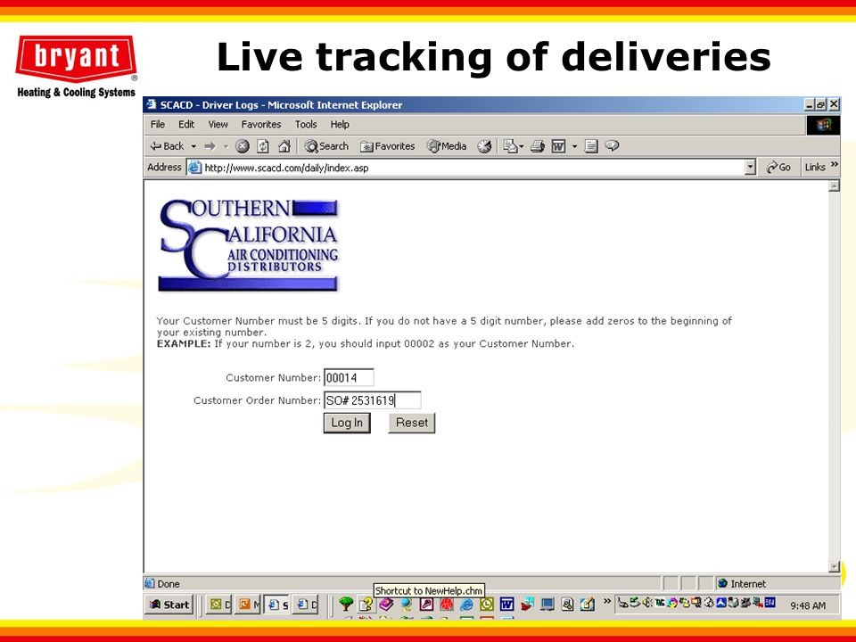 Live tracking of deliveries