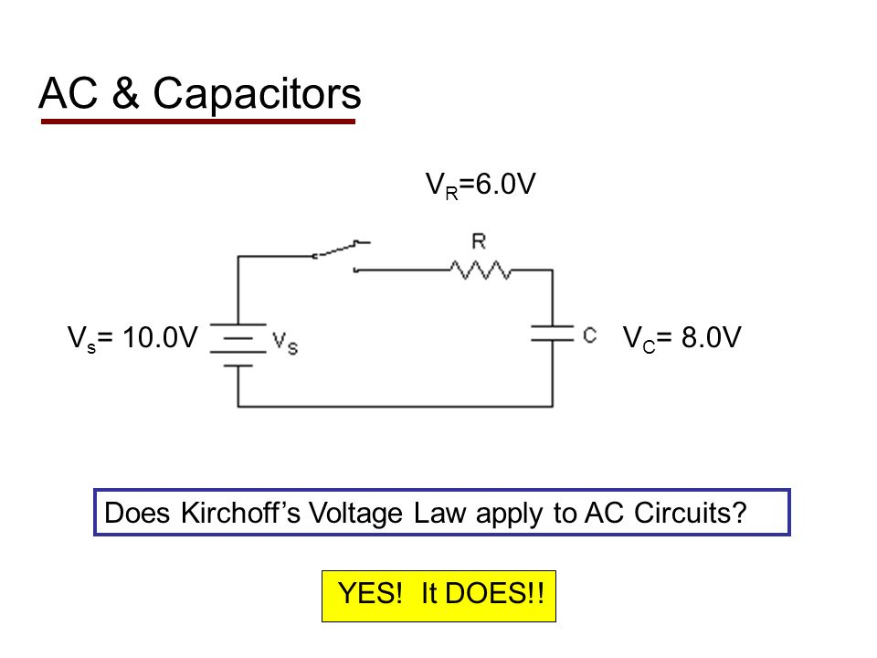 AC & Capacitors Does Kirchoffs Voltage Law apply to AC Circuits.