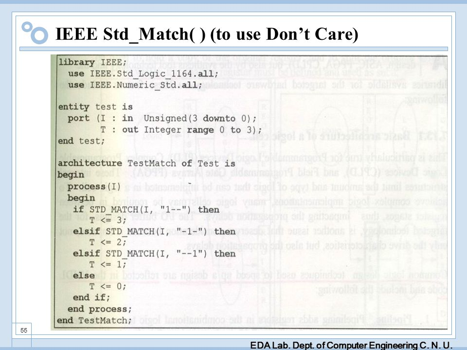 EDA Lab. Dept. of Computer Engineering C. N. U. 55 IEEE Std_Match( ) (to use Dont Care)