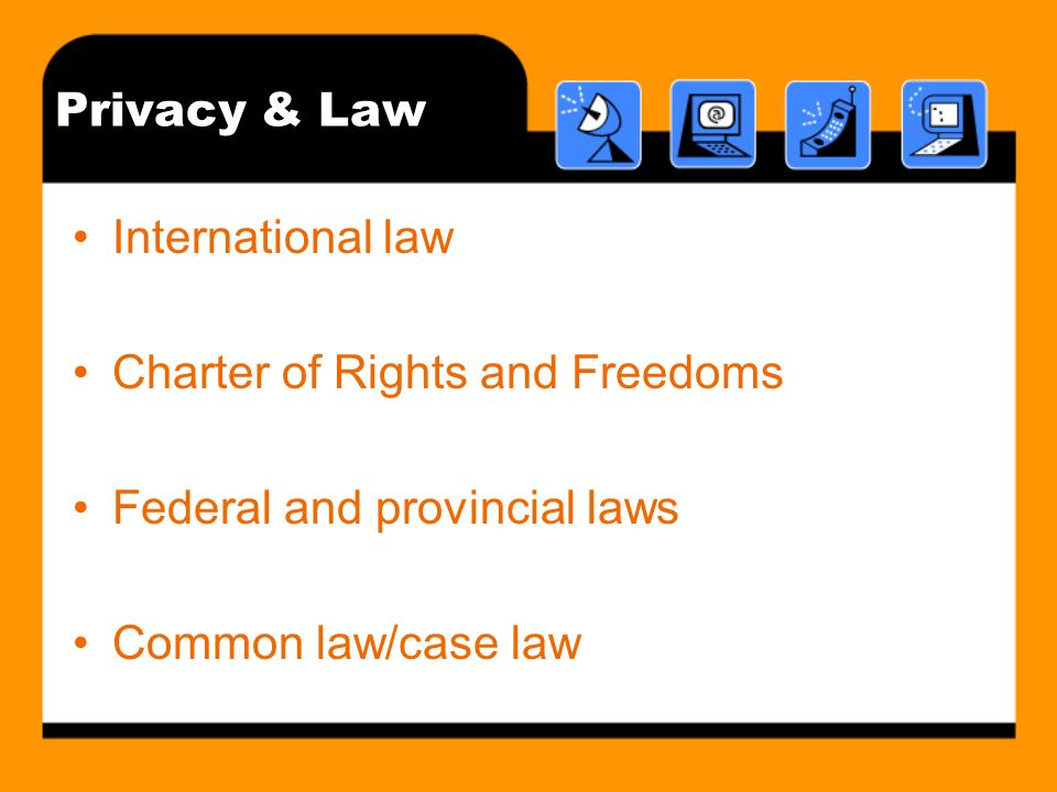 Privacy & Law International law Charter of Rights and Freedoms Federal and provincial laws Common law/case law
