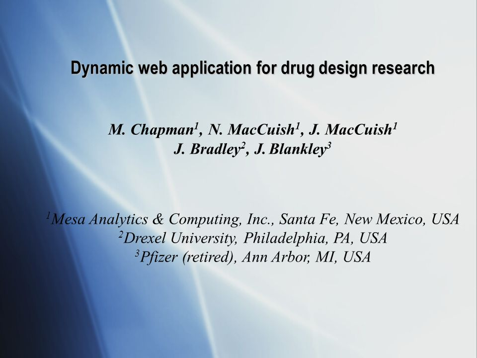 Dynamic web application for drug design research M.