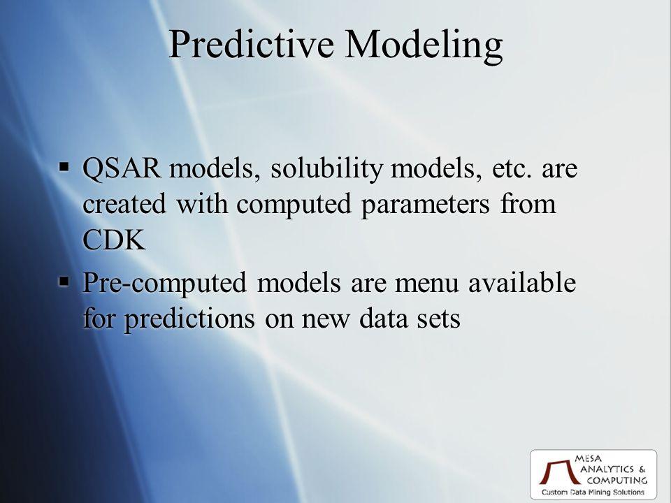 Predictive Modeling QSAR models, solubility models, etc.