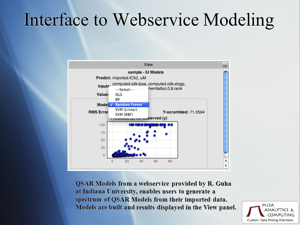 Interface to Webservice Modeling QSAR Models from a webservice provided by R.