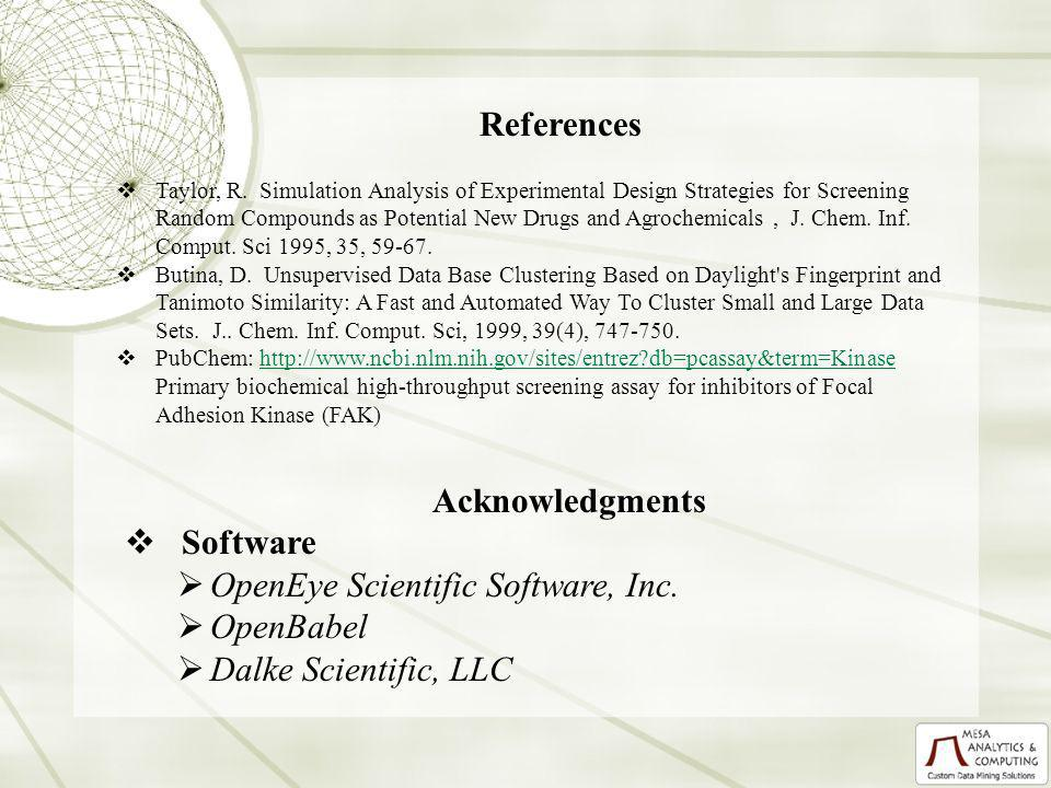Acknowledgments Software OpenEye Scientific Software, Inc. OpenBabel Dalke Scientific, LLC References Taylor, R. Simulation Analysis of Experimental D
